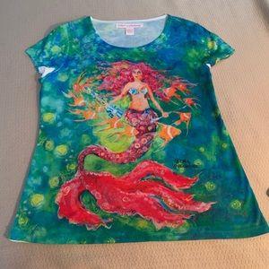 Leoma Lovegrov Tops - Leoma Lovegrove Beach Style Mermaid Print Top